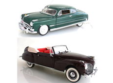 Franklin Mint - Scale 1/24 - Hudson Hornet 1951 - Green and Lincoln Continental 1941 with Certificates