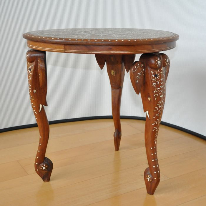 Antique wooden mosaic elephant coffee table india circa mid 20th century catawiki Elephant coffee table