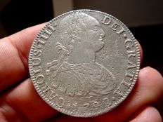 Spain – Carlos IV (1788 – 1808) – 8 reales silver coin – Year 1792 – Mexico. FM