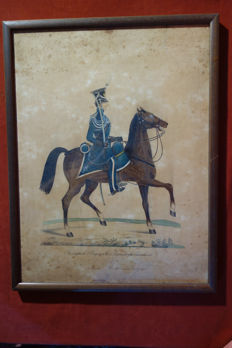 Watercolour of a Royal Bavarian territorial army trooper - Germany