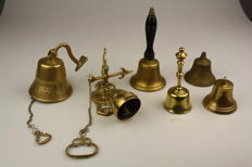 Lot with 6 old bells - copper/bronze