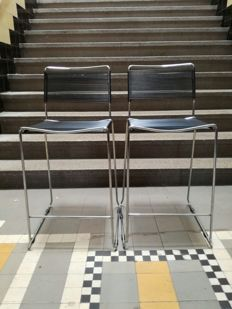 producer unknown - a pair of  rubber 'spaghetti' seat and backing with chrome frame