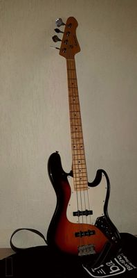Adonis Jazz bass guitar including gig bag (with advertising) and leather strap