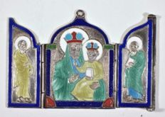 A silver and enamel Russian Orthodox travel icon of first half 19th century