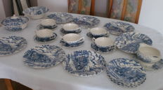 Dining Service for 6 People, 28 pieces, Myott Royal Mail, English Ceramic, Stagecoach, Blue