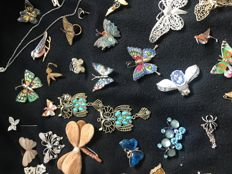 49 vintage crystal and gem set winged brooches: bugs, butterflies, dragonflies