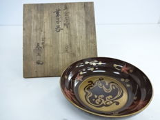 Excellent lacquer tray with Maple Leaf decoration - signed Shunsho - Japan - Early 20th century