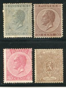 Belgium 1965/66 - Leopold I ´en profil´ and Weapon - OBP 17, 19b, 20, 25A