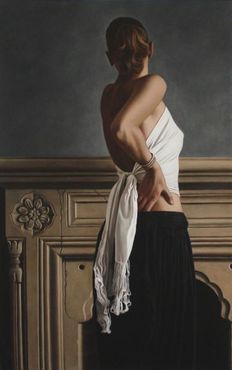 Willi Kissmer - In Front of the Fireplace, Bound, Standing with Arms Raised