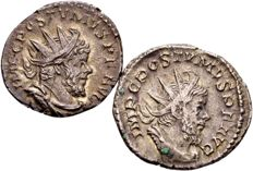 Roman Empire – Lot with two Silver Antoninianus of emperor Postumus, 260-269 A.D., struck in Cologne