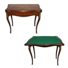 Rosewood game table with floral inlay and bronze decorations - France, Second French Empire period, ca. 1880
