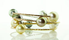 Magnificent Wrap Bracelet Featuring 9 Australian South Sea and Tahitian Pearls crafted in 18K Gold - no reserve price