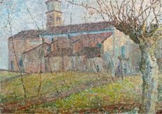 Nice Impressionist painting possibly by Ferdinand  Hart Nibbrig (1866-1915) - A Romanesque church in a landscape