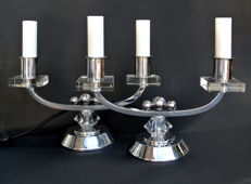 Rare pair of candlesticks lamp in chrome and crystal, in the taste of J. Adnet, Art Deco 1930