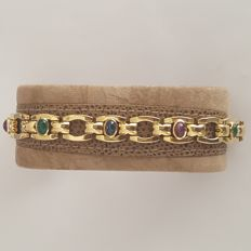 18 kt gold bracelet of 18 kt with 11 ct in emeralds, rubies, and sapphires – Length: 19 cm