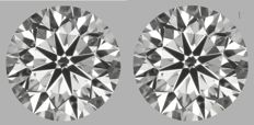 Pair - Round Brilliant Diamonds 1.00ct total D VS2 GIA - Low Reserve Price - # 2059-2057