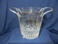 A Vintage Cut Crystal Atlantis Champagne and Wine Ice cooler glass in a Silver Plate Base - solid 4.48 kg, Portugal, 1960´s