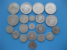 The Netherlands – 10 cents up to and including 1 guilder 1848/1943 Willem II, Willem III and Wilhelmina (20 pieces) silver