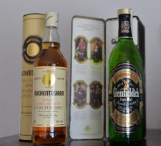 2 bottles  -  Auchentoshan  Single Lowland Malt 10 years old 1980s & Glenfiddich Special Old  Reserv Single Malt