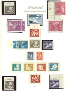 GDR of East Germany - 1945 - 1970 - advanced collection, almost complete, some multiple times with se-tenants in Borek springback binder.