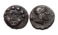 Greek Antiquity - Pisidia, Selge - AR Trihemiobol (9,5mm; 0,67g.), ca 350-300 BC - Gorgoneion / Head of Athena - SNG Cop 252