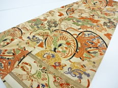 Silk maru obi (kimono sash) with traditional designs of good fortune - Japan - Taisho era (1912-26)