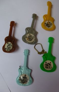 Original Beatles Guitar Pins , and Key Ring