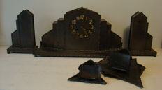 Metal Amsterdam school clock set - period around 1920/30