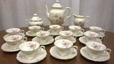 Bavaria Schumann Aezberg coffee set for 12 including coffee pot, sugar bowl and creamer. Gold rims