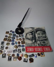 A collection of things depicting Yuri Gagarin and cosmonauts