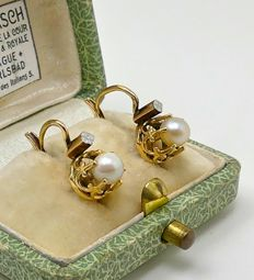 "Napoleon III fresh water ""crown"" dormeuses earrings 18kt gold & Platinum - NO RESERVE"