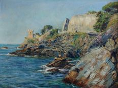 Berto Ferrari ( 1887 - 1965 ) - Coastal view of Nervi with the Gropallo Tower-