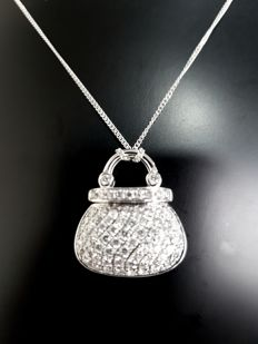 Diamond necklace with pendant in form of handbag 1.21 ct