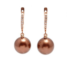 Gold and 0.18Ct Diamond Earrings Featuring 11x12mm Round Tahitian Chocolate Pearls