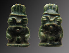 Egyptian faience amulet with double god Bes with a feathered crown - 16 mm