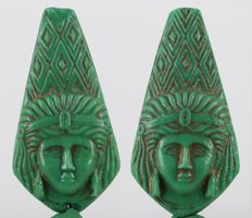 Egypt Ptolemaic Dynasty green glass Isis Amulet with remains of gilding - ca. 4,5 cm  c. 1,77 inches