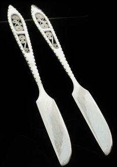 Pair Silver Butter Knives with Filagree Insert to Handles