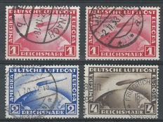 German Reich 1928/1933 – Selection Airmail Graf Zeppelin – Michel 423, 424, 455, 496