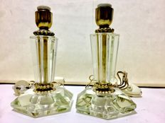 Pair of Art Deco style table lamps in Murano glass and brass, 1950s - Italy