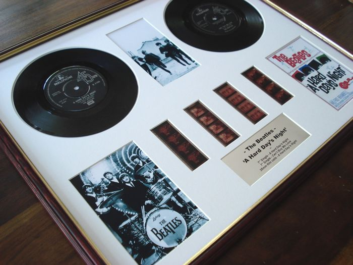 """The Beatles A Hard Day's Night 7"""" vinyl record disc film cell montage"""