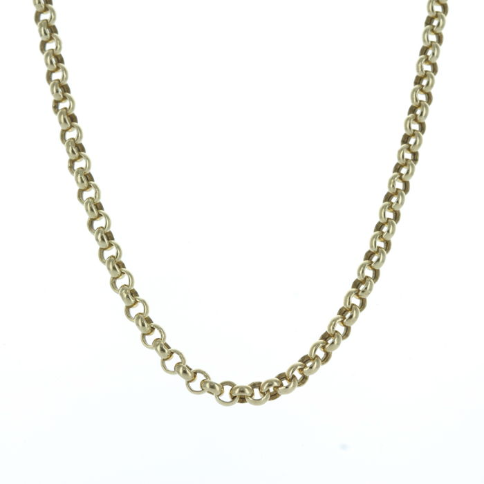 14 kt Gold rolo link necklace, 3.2 mm, with spring ring clasp of 11 mm, length: 46 cm
