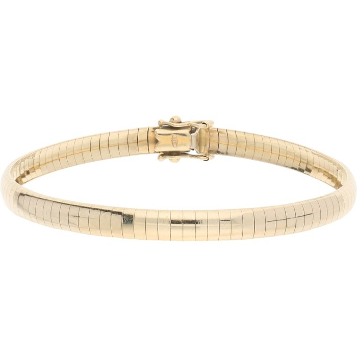 14 kt – Flexible yellow gold bangle with a box claps and 2 safety catches – Length: