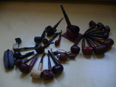 Bruyere pipes, various brands and leather pipe stand.