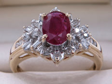 Certified gold cocktail ring with diamonds & rubies – 1.03 carat in total / Si2-P1 / 17.90 mm **No Reserve**