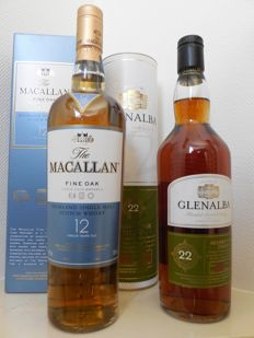 2 bottles - Macallan 12 years Fine Oak & Glen Alba 22 years old