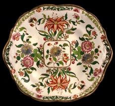 Victorian dish with enamelled floral decoration