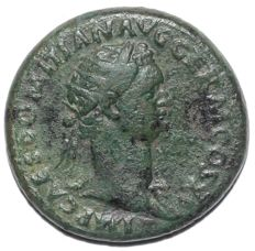 Roman Empire - Domitian (as Augustus 81-96 AD), Æ Dupondius (COS XI - Virtus)