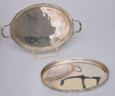 Silver plate / serving tray, Van Kempen, Voorschoten, 1868, plus serving tray of Poolse manufacture