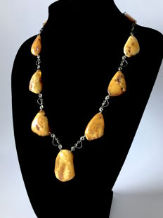Art Deco necklace with natural Baltic Amber cabochons (not pressed, not heated) white egg yolk, 40.8 gr