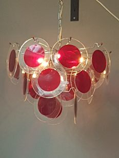 Designer unknown - vintage perspex disc ceiling light